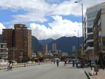 Vista del Ciclovia en Bogotá, Colombia Imagenes de archivo
