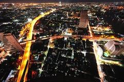 Vista del cielo della città di notte della Tailandia Bangkok Immagine Stock Libera da Diritti
