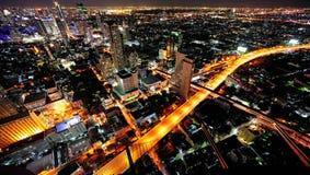Vista del cielo della città di notte della Tailandia Bangkok Immagini Stock