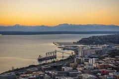 Vista del cielo di tramonto di Seattle Immagini Stock