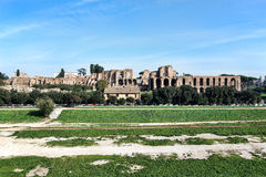 Vista del circo Maximus y de la colina de Palatine, Roma, Italia Fotografía de archivo libre de regalías