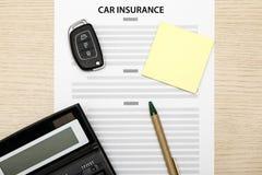 Vista del concepto del seguro de coche Fotos de archivo