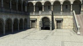 Vista del cortile all'entrata al castello illustrazione di stock