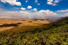 Vista del cratere di Ngorongoro in Tanzania Fotografie Stock Libere da Diritti