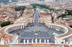 Vista del cuadrado de San Pedro, Vaticano Fotografía de archivo