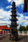 Vista del culmine di marmo in tempio di Buddha della medicina vecchio nel geopark del lago Jingpo Immagine Stock Libera da Diritti
