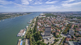 Vista del Danubio da sopra fotografia stock