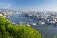 Vista del Danubio e di Budapest da Citadella, Ungheria Immagini Stock Libere da Diritti