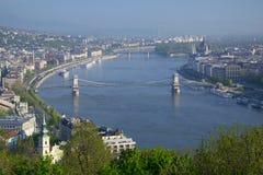 Vista del Danubio e di Budapest dalla collina di Gellert, Ungheria Immagini Stock Libere da Diritti