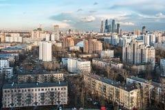 Vista del desarrollo residencial y financiero de Moscú Fotografía de archivo libre de regalías