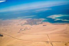 Vista del deserto dall'aeroplano Fotografia Stock
