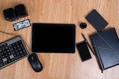Vista del desktop dell'ufficio Inserimento del testo Immagini Stock