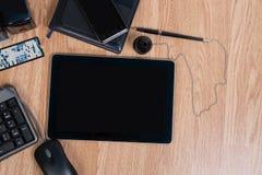 Vista del desktop dell'ufficio Inserimento del testo Immagine Stock