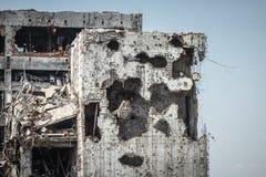 Vista del dettaglio delle rovine dell'aeroporto di Donetsk Immagine Stock