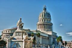 Vista del dettaglio edificio di Havana Capitol con la fontana Fotografie Stock Libere da Diritti