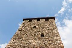 Vista del dettaglio sulla torre del castello del Tirolo Villaggio di Tirolo, provincia Bolzano, Tirolo del sud, Italia fotografie stock