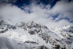 Vista del ` di Monte Bianco del ` dal terrazzo panoramical di Punta Helbronner Immagine Stock Libera da Diritti