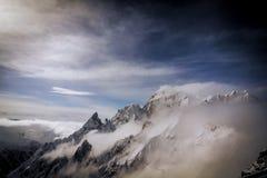 Vista del ` di Monte Bianco del ` dal terrazzo panoramical di Punta Helbronner Immagine Stock