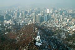 Vista del distretto aziendale di Seoul dalla torre di Seoul Immagine Stock Libera da Diritti