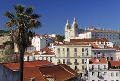 Vista del districto de Alfama, Lisboa vieja (Portugal) Imagen de archivo