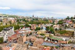Vista del distrito de Abanotubani en la ciudad vieja de Tbilisi georgia Imagen de archivo libre de regalías