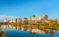 Vista del distrito de Troieshchyna de Kiev, Ucrania imagen de archivo libre de regalías