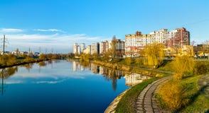 Vista del distrito de Troieshchyna de Kiev, Ucrania imágenes de archivo libres de regalías
