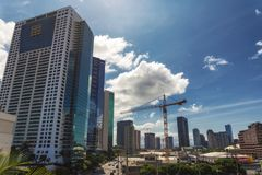 Vista del distrito financiero de la ciudad de Honolulu, Hawaii fotografía de archivo libre de regalías