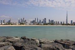 Vista del Dubai dal mare Fotografia Stock Libera da Diritti