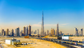 Vista del Dubai del centro immagini stock