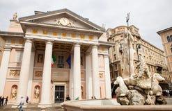 Vista del edificio de la bolsa de acción, Trieste Imagen de archivo libre de regalías