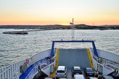 Vista del embarcadero en el transbordador de Crimea Imagenes de archivo