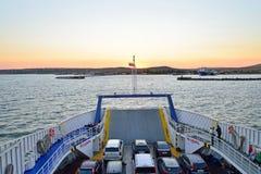 Vista del embarcadero en el transbordador de Crimea Fotos de archivo libres de regalías