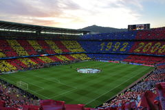 Vista del estadio de Barcelona del club de Futbol Fotos de archivo libres de regalías
