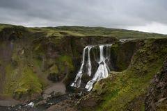 Vista del Fagrifoss (bella cascata) su una sera nuvolosa, Fotografia Stock Libera da Diritti