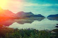 Vista del fiordo al tramonto Immagini Stock Libere da Diritti