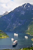 Vista del fiordo de Geiranger, Noruega Imágenes de archivo libres de regalías