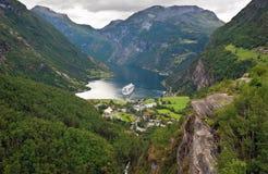Vista del fiordo di Geiranger (Norvegia) Fotografia Stock