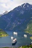 Vista del fiordo di Geiranger, Norvegia Immagini Stock Libere da Diritti