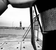 Vista del fisheye del porticciolo Sguardo artistico in bianco e nero Immagini Stock Libere da Diritti