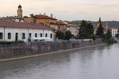 Vista del fiume di Adige Immagini Stock Libere da Diritti