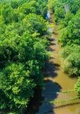 Vista del fiume di Appomattox dall'alto ponte fotografia stock