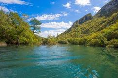 Vista del fiume di Cetina intorno alla città di Omis Almissa, canyon/fiume/verde/montagne della Dalmazia, Croazia fotografie stock libere da diritti