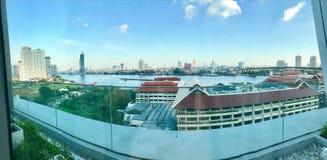 Vista del fiume di Chao-Pra-ya Fotografia Stock Libera da Diritti