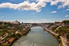 Vista del fiume di Douro e di Oporto fotografia stock libera da diritti