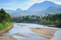 Vista del fiume di Luang Prabang Fotografia Stock Libera da Diritti