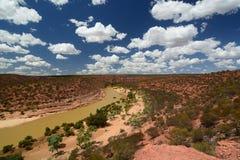 Vista del fiume di Murchison dall'allerta della natura del ` s della finestra Parco nazionale di Kalbarri Australia occidentale l Fotografia Stock