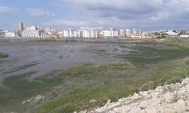 Vista del fiume di tejo di Barreiro Portogallo Fotografia Stock Libera da Diritti