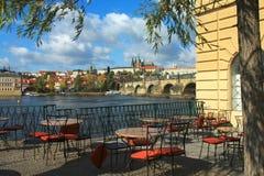 Vista del fiume di Vltava Fotografia Stock Libera da Diritti