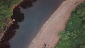 Vista del fiume e rive del fiume a terra pietrose vicino agli arbusti, erba ed alberi e società dei turisti che stanno sul stock footage